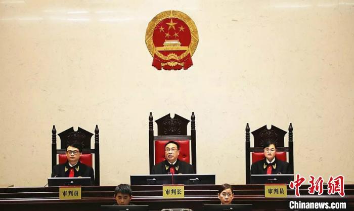 图为柳州市中级人民法院院长文秋德担任审判长审理该案。 邓煜 摄
